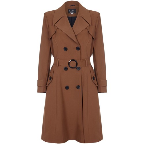 Clothing Women coats De La Creme Spring Belted Trench Coat Brown