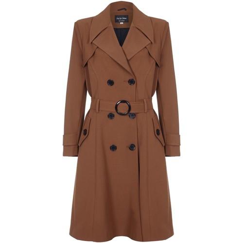 Clothing Women Coats De La Creme Spring Belted Trench Coat Brown
