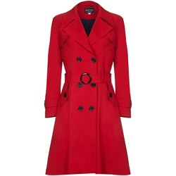 Clothing Women Coats De La Creme Spring Belted Trench Coat Red