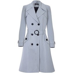 Clothing Women coats De La Creme - Silver Grey Womens Spring Belted Trench Coat Grey
