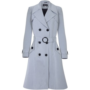 Clothing Women coats De La Creme Spring Belted Trench Coat Grey