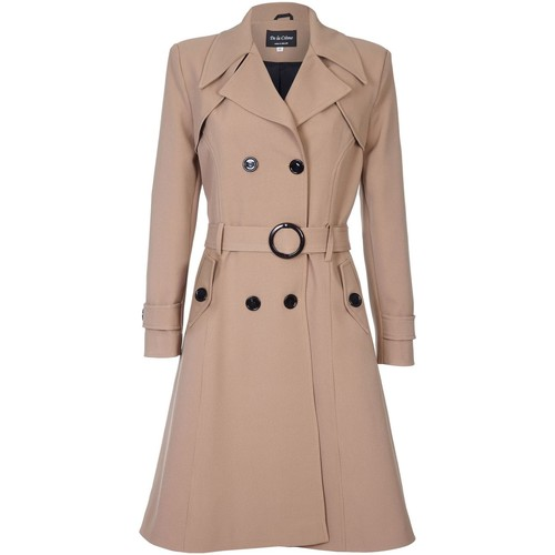 Clothing Women coats De La Creme Spring Belted Trench Coat BEIGE