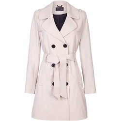 Clothing Women coats De La Creme Spring Tie Belted Trench Coat BEIGE