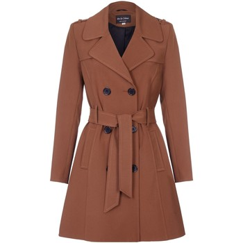 Clothing Women coats De La Creme Spring Tie Belted Trench Coat Brown