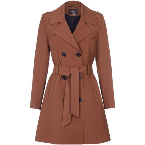 Clothing Women Coats De La Creme Spring Tie Belted Trench Coat Brown