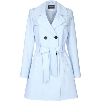 Clothing Women coats De La Creme Spring Tie Belted Trench Coat Blue