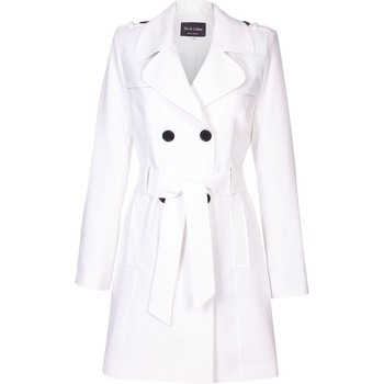 Clothing Women coats De La Creme Spring Tie Belted Trench Coat White