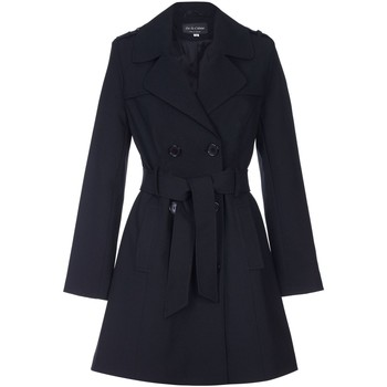 Clothing Women coats De La Creme - Black Womens Spring Tie Belted Trench Coat Black