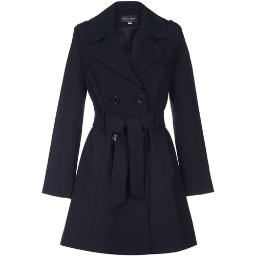 Clothing Women coats De La Creme Spring Tie Belted Trench Coat Black