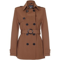 Clothing Women coats De La Creme Spring Tie Belted Short Trench Coat Brown