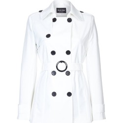 Clothing Women coats De La Creme Spring Tie Belted Short Trench Coat White