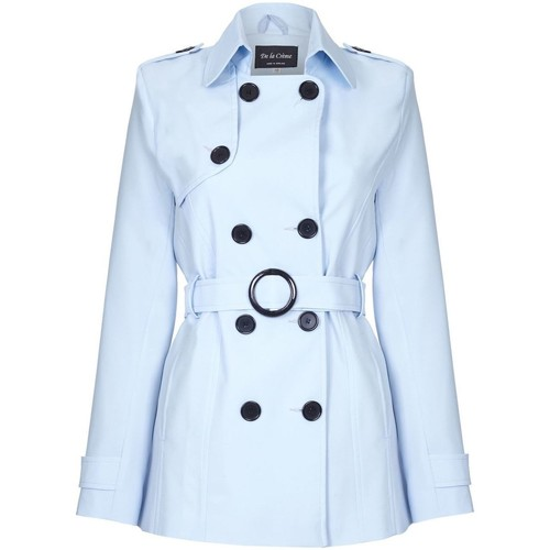 Clothing Women coats De La Creme Spring Tie Belted Short Trench Coat Blue