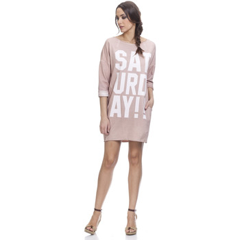 Clothing Women Short Dresses Tantra Printed dress GINA Light pink Woman Spring/Summer Collection Light pink