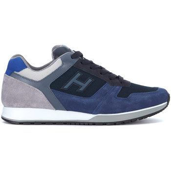 Shoes Men Low top trainers Hogan H321 in blue and grey suede and leather sneaker Blue