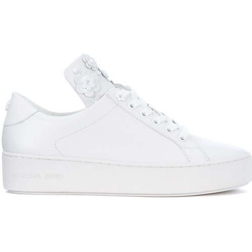 Michael michael kors mindy white leather sneaker with flowers white shoes women low top trainers michael michael kors mindy white leather sneaker with flowers white mightylinksfo