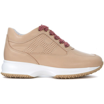 Shoes Women Low top trainers Hogan Interactive beige leather sneaker Beige