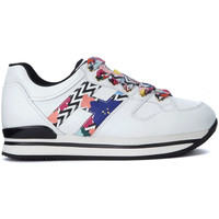 Shoes Women Low top trainers Hogan H222 multicolor and white leather sneaker White
