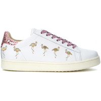 Shoes Women Low top trainers Moa - Master Of Arts MoA Flamingo white leather sneaker with flamingos and pink sequi Multicolour