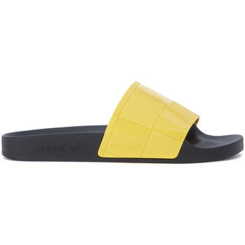Shoes Men Tap-dancing Adidas By Raf Simons Adilette Checkerboard yellow and black slipper Black