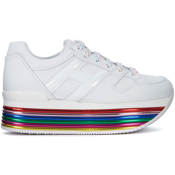 Shoes Women Low top trainers Hogan H352 Maxi white leather and multicolor sole sneaker. White