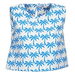 Clothing Women Tops / Sleeveless T-shirts Suncoo LANA White / Blue