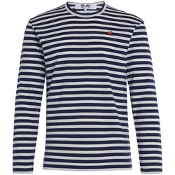 Clothing Men Long sleeved tee-shirts Comme Des Garcons Play by Comme de Garcon sweater with blue and white straps Grey