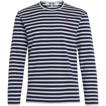 Clothing Men Long sleeved tee-shirts Comme Des Garcons Play by Comme de Garcon sweater with blue and white straps Multicolour