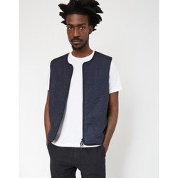 Clothing Men Jackets Folk Collarless Nylon Gilet Navy Blue