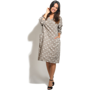 Clothing Women Short Dresses 100 % Lin Dress SCARLETT Taupe Taupe