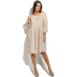 Clothing Women Short Dresses 100 % Lin Dress LILON Beige Beige