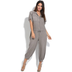 Clothing Women Jumpsuits / Dungarees 100 % Lin Jumpsuit BLONDIE Taupe Taupe