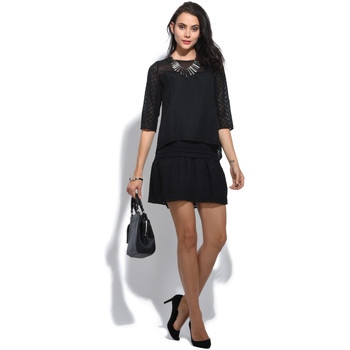 Clothing Women Short Dresses 2 Two Short dress embroidered layered effect, 3/4 sleeves HISEULT Bla Black