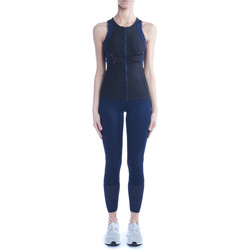 Clothing Women Tops / Blouses Adidas By Stella Mccartney Run Racer Back black and blue technical tank top Blue