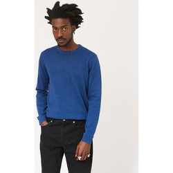 Clothing Men jumpers The Idle Man Crew Neck Knitted Jumper Blue Blue