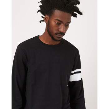 Clothing Men jumpers The Idle Man Stripe Sleeve Sweatshirt Black Black