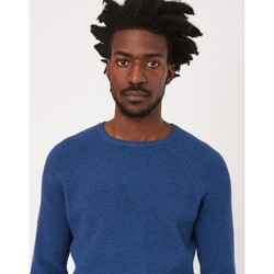 Clothing Men jumpers The Idle Man Vertical Rib Raglan Jumper Blue Blue