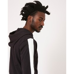 Clothing Men jumpers The Idle Man Contrast Tape Zip Through Hoodie Black Black
