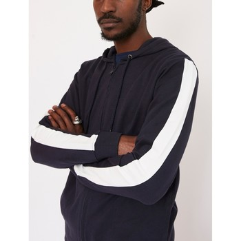 Clothing Men jumpers The Idle Man Contrast Tape Zip Through Hoodie Navy Blue