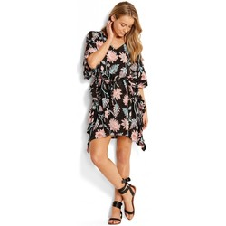 Clothing Women Short Dresses Seafolly , Bali Hai Ruffle Kaftan, Black Flower Print Flowers