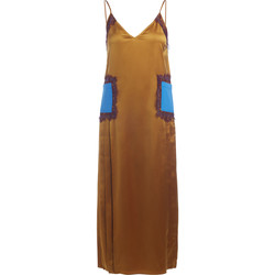 Clothing Women Dresses Tory Burch gold silk, with blue pockets and bordeaux lace dress Gold