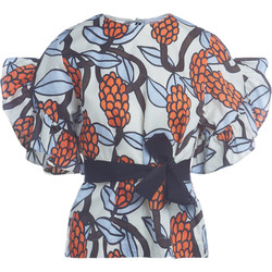Clothing Women Tops / Blouses Jucca ivory bluse with print and flounces Multicolour