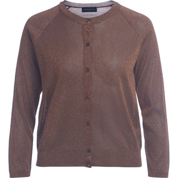 Clothing Women jumpers Roberto Collina cognac lamé cardigan Brown