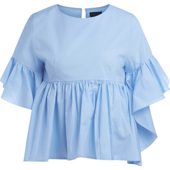 Clothing Women Tops / Blouses Roberto Collina light blue cotton blouse Light blue