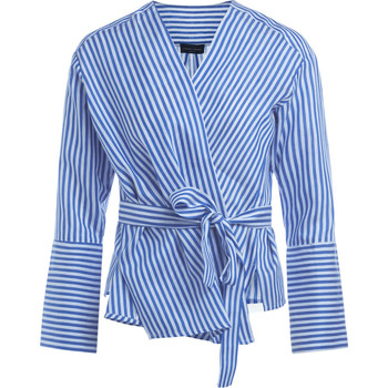 Clothing Women Shirts Roberto Collina white and blue striped wrapover bluse Blue