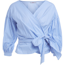 Clothing Women Shirts Jucca crossed white and light-blue shirt Light blue