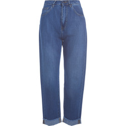 Clothing Women Jeans Jucca blue denim turn-up jeans Blue