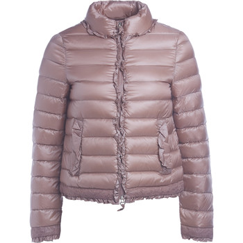 Clothing Women Duffel coats Twinset pink DOWN JACKET WITH ROUCHES AND LACE Pink