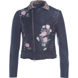 Clothing Women Jackets Twinset black studded jacket with embroidery, spotted neck and studs Black