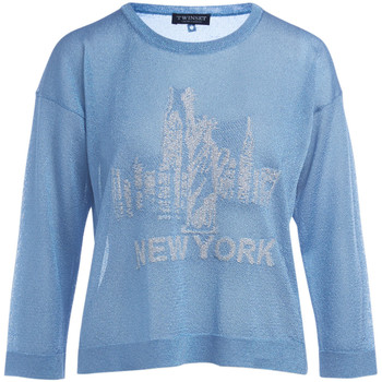 Clothing Women jumpers Twinset light blue lurex sweater with print Blue