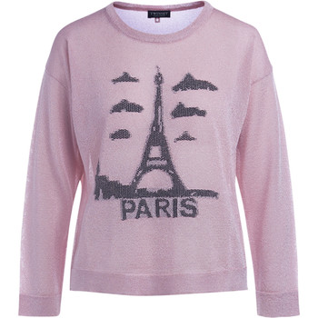 Clothing Women jumpers Twinset pink lurex sweater with print Pink